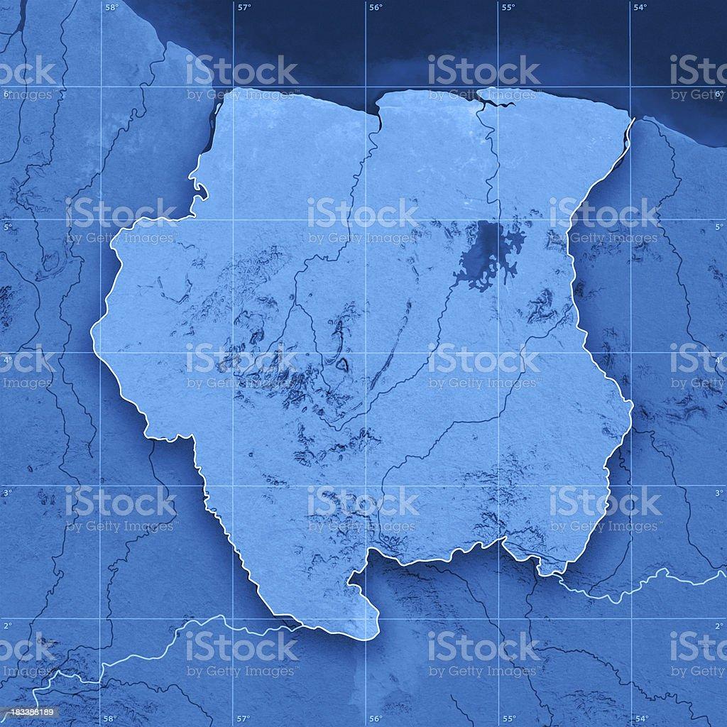 Suriname Topographic Map stock photo