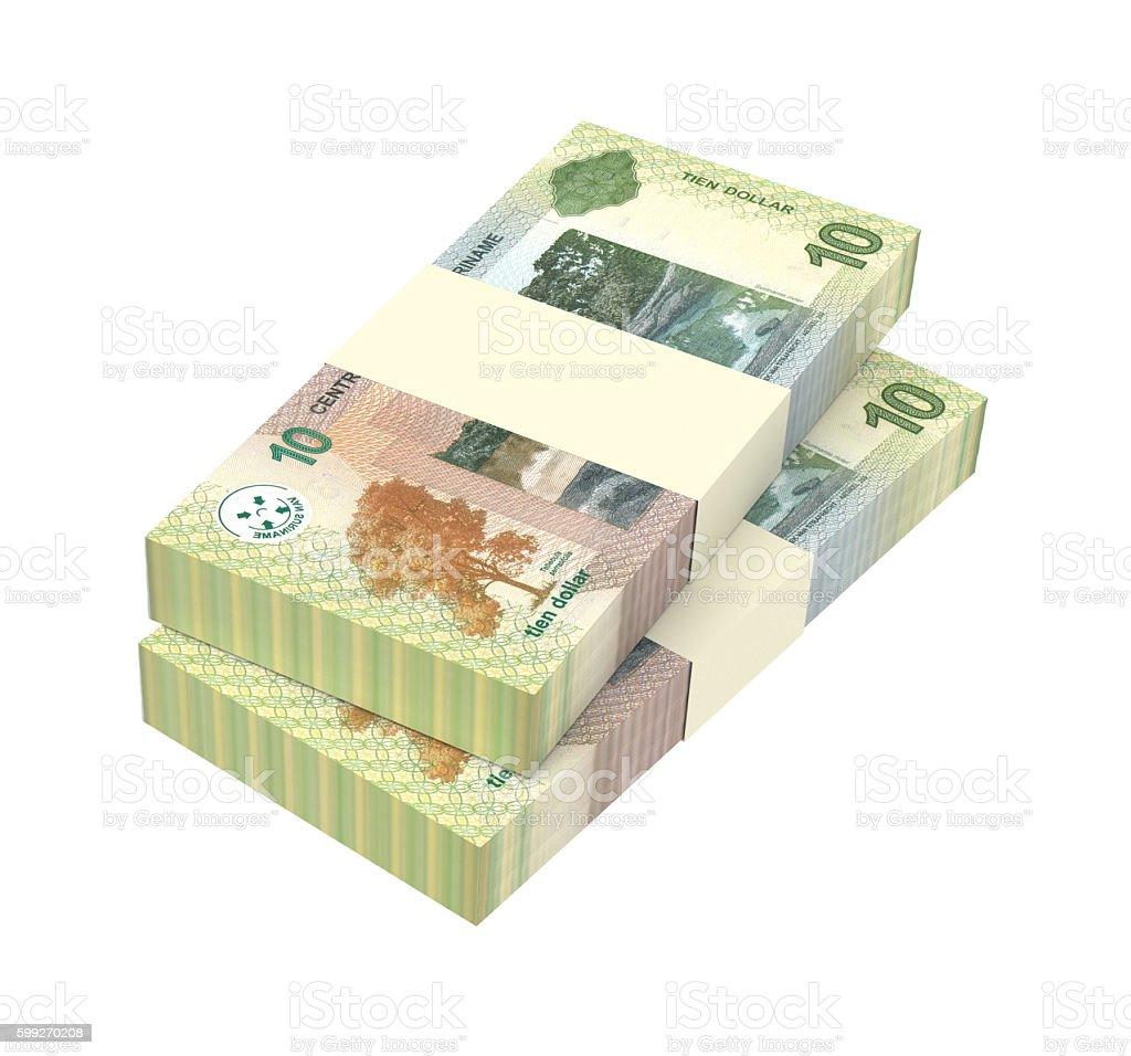 Surinamese dollar bills isolated on white background. stock photo