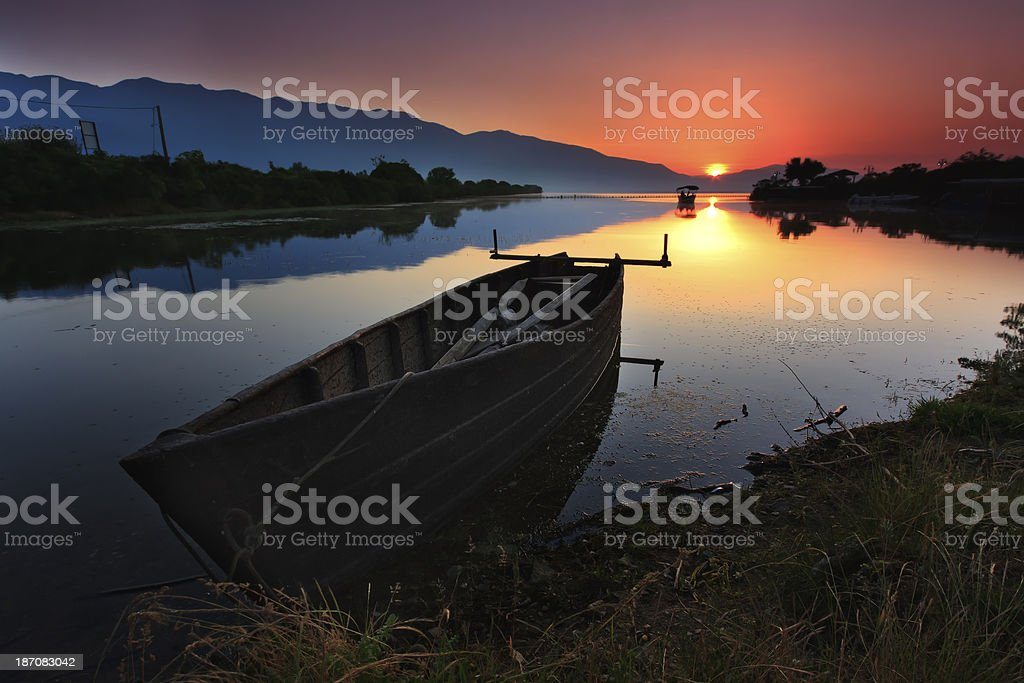 Surise over the lake royalty-free stock photo