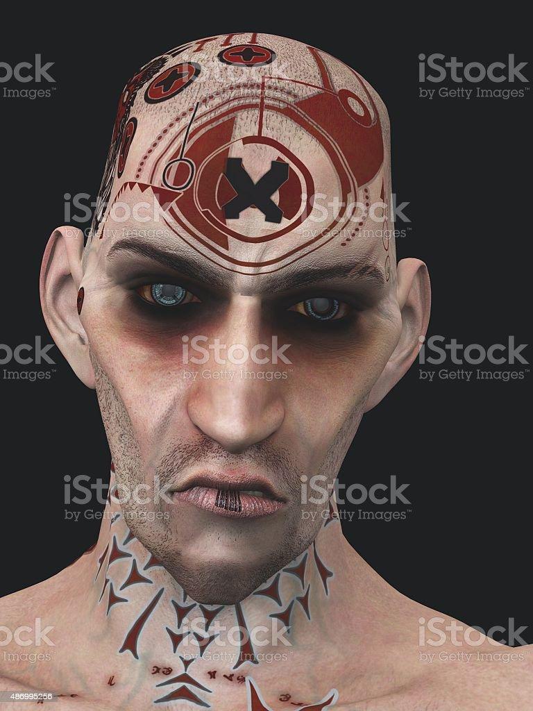 Surly tattooed skinhead stock photo