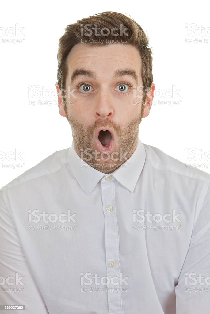 surpise shocked man mouth open stock photo