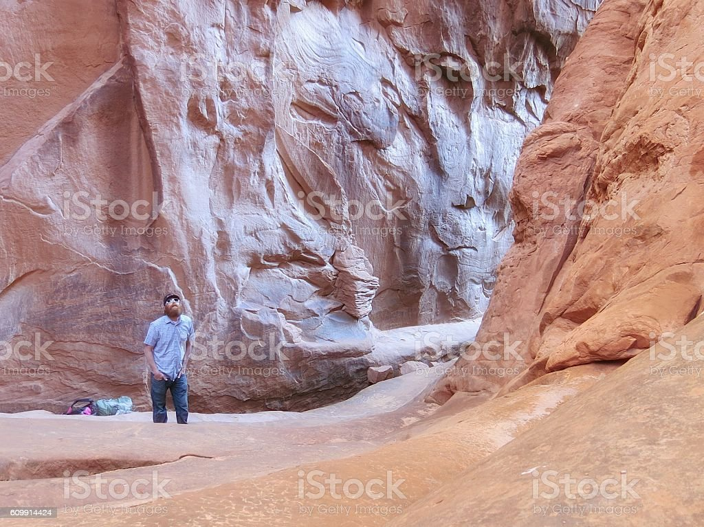 Surprise Arch Cathedral, Fiery Furnace, One Man Alone, Arches Park stock photo
