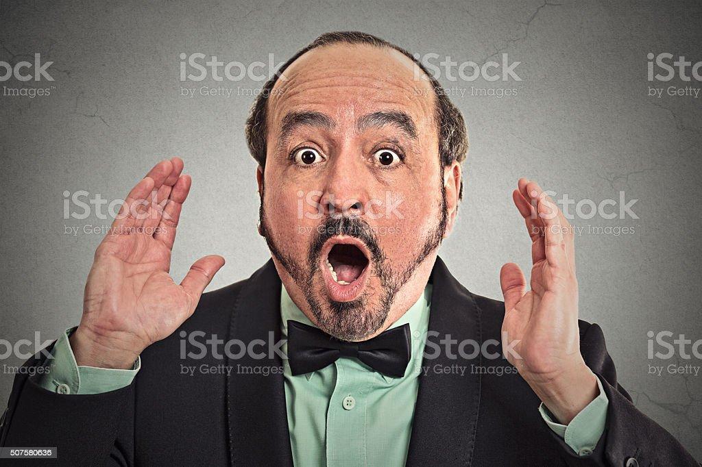 Surprise astonished man. stock photo