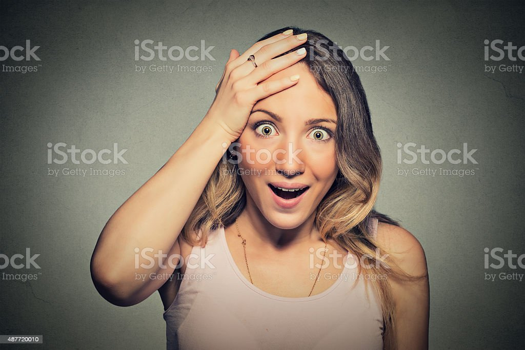 Surprise astonished woman disbelief wide open mouth stock photo