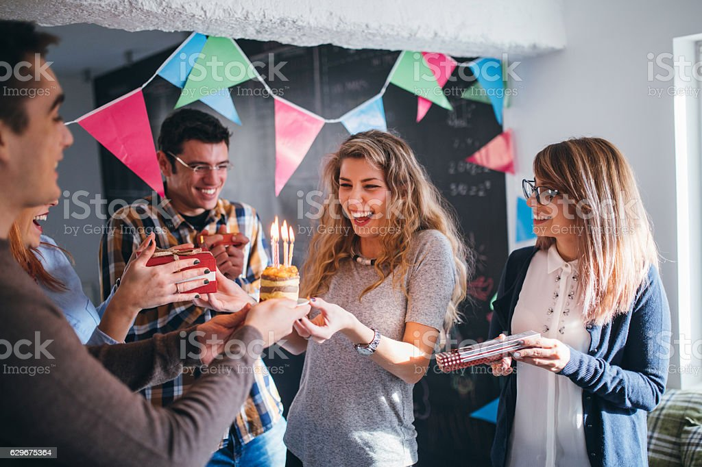 Surprise for birthday on work place stock photo