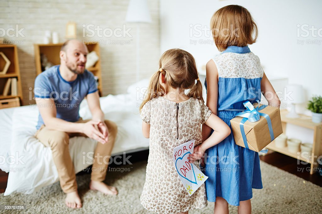 Surprise for father stock photo