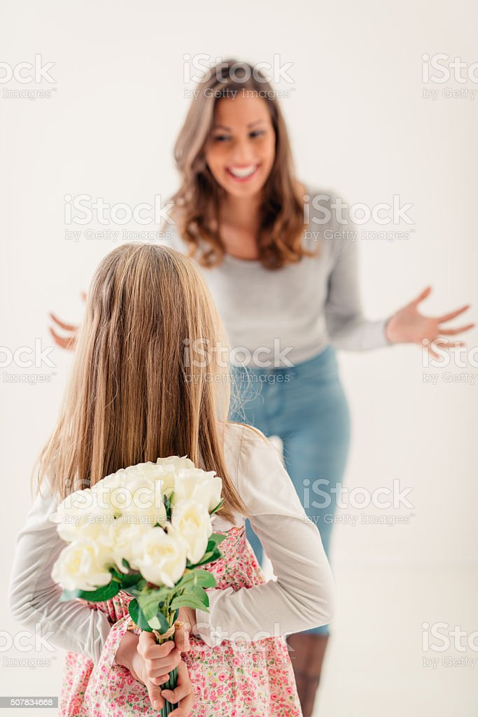 Surprise For Mum stock photo