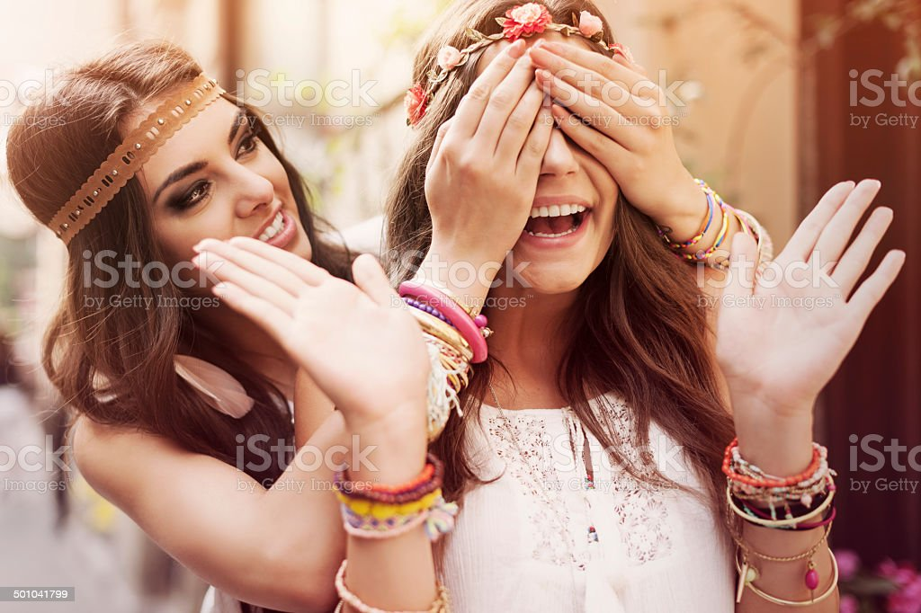 Surprise for the best friend stock photo