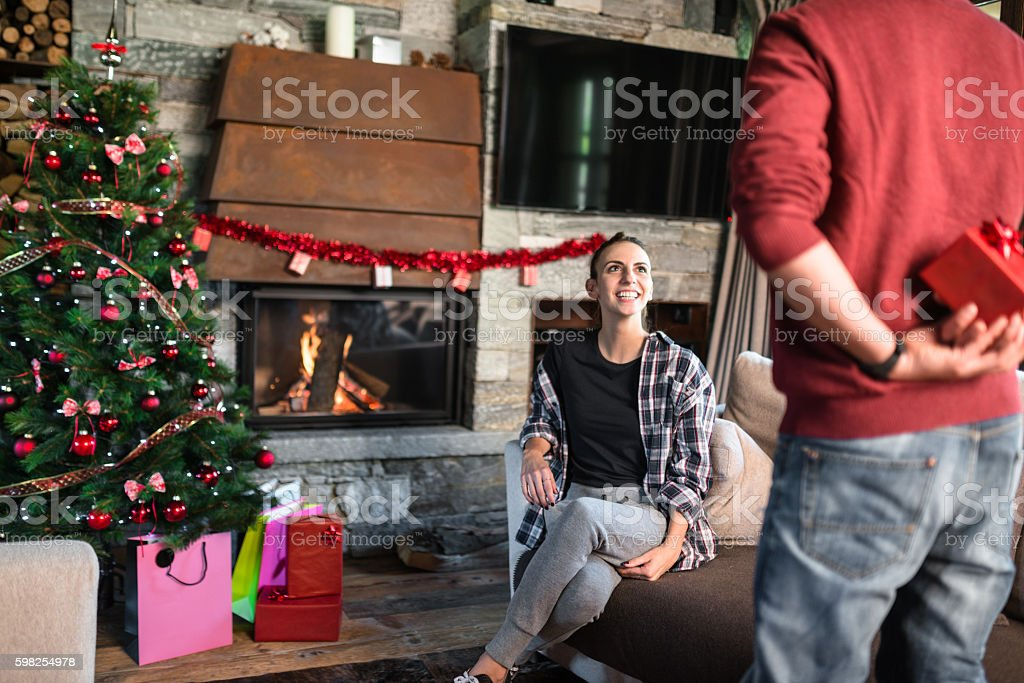 surprise for the girlfriend for christmas stock photo