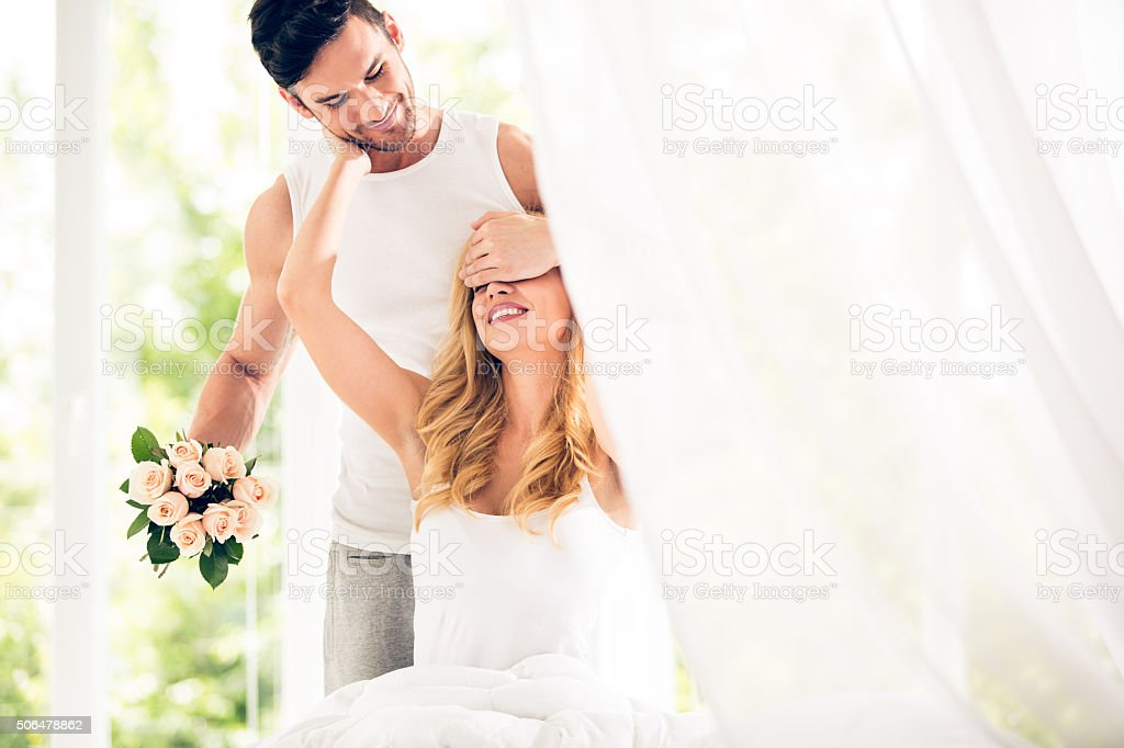 Surprise for Valentine's day stock photo