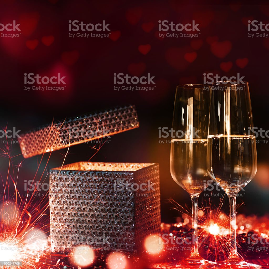 Surprise for Valentines Day stock photo