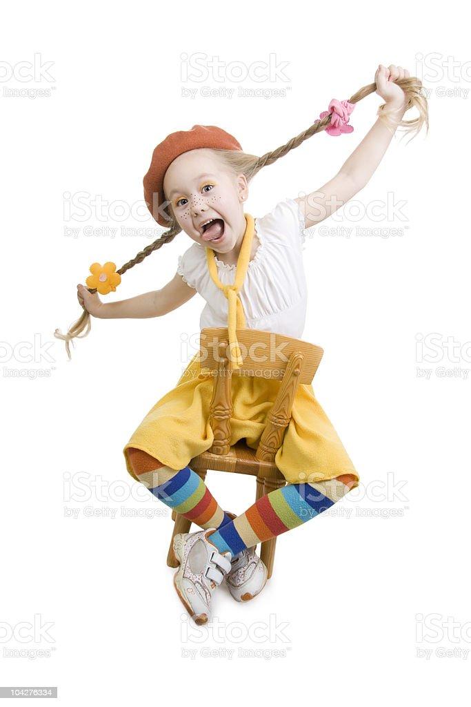 Surprise fun little girl. royalty-free stock photo