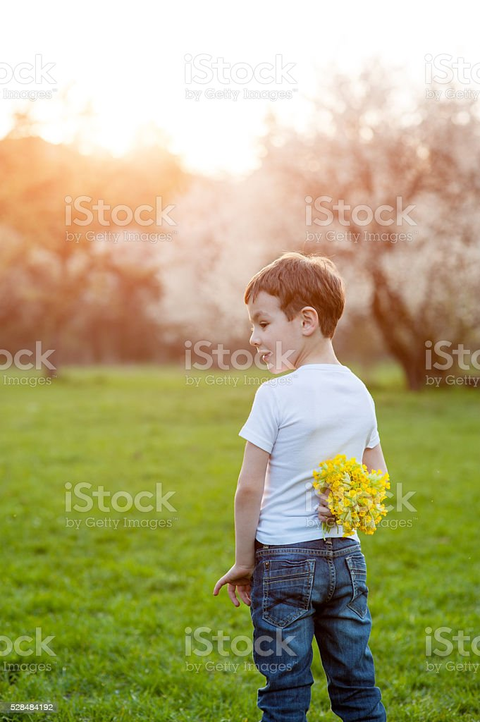 Surprise, gift, birthday, mothers day, son, love, spring, summer stock photo