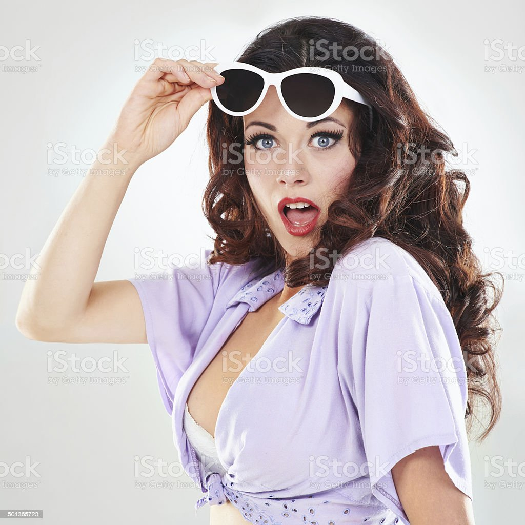 Surprise in the 60s! stock photo