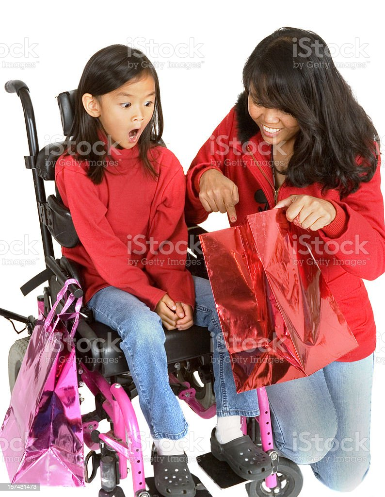Surprise in the shopping bag royalty-free stock photo