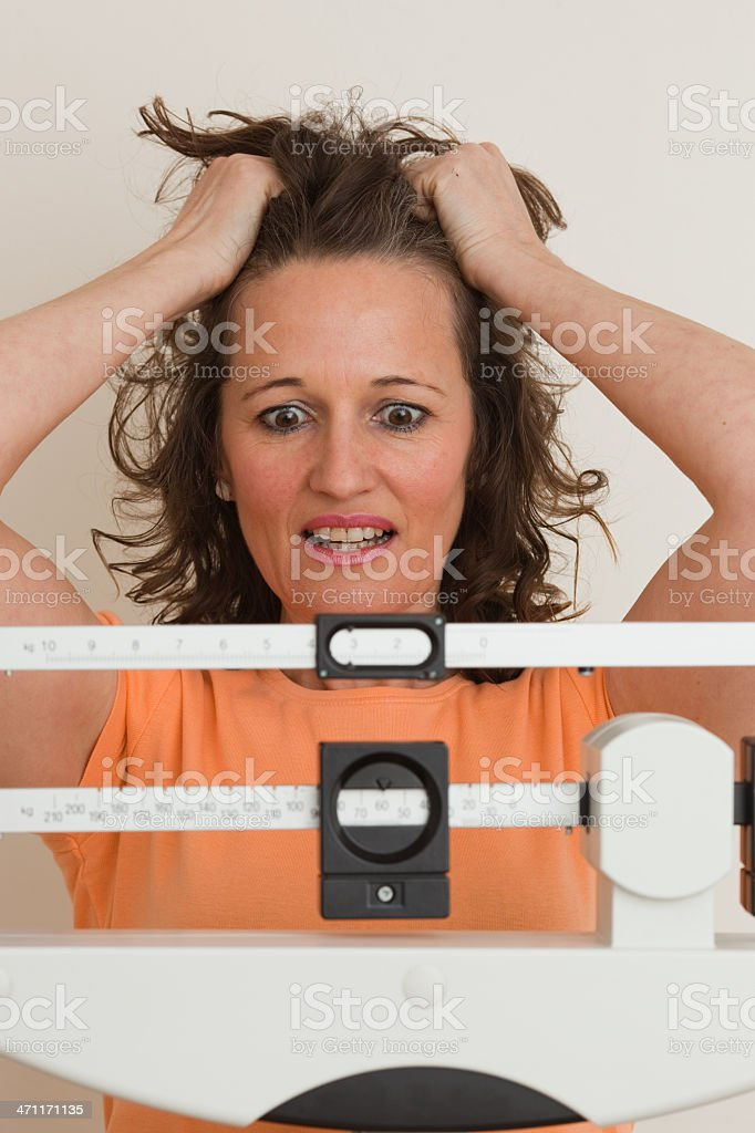 Surprise on the weight scale royalty-free stock photo
