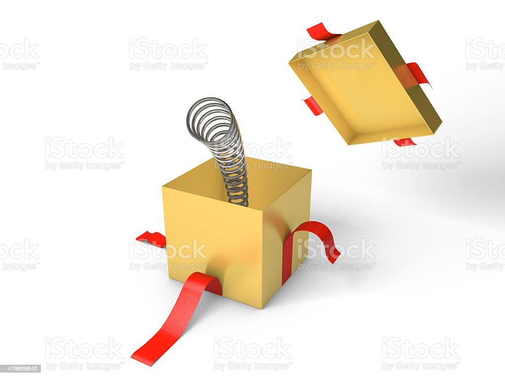 Surprise. Open golden gift box with the spring inside. stock photo