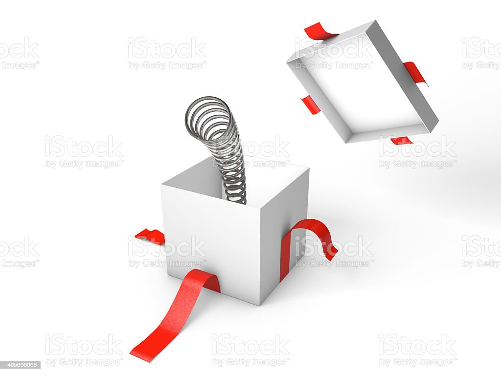 Surprise. Open white gift box with the spring inside. stock photo