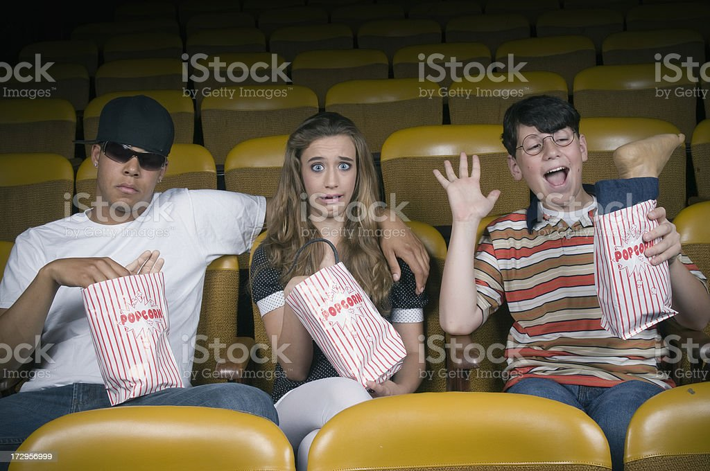 Surprise Popcorn Bags at the Movies stock photo