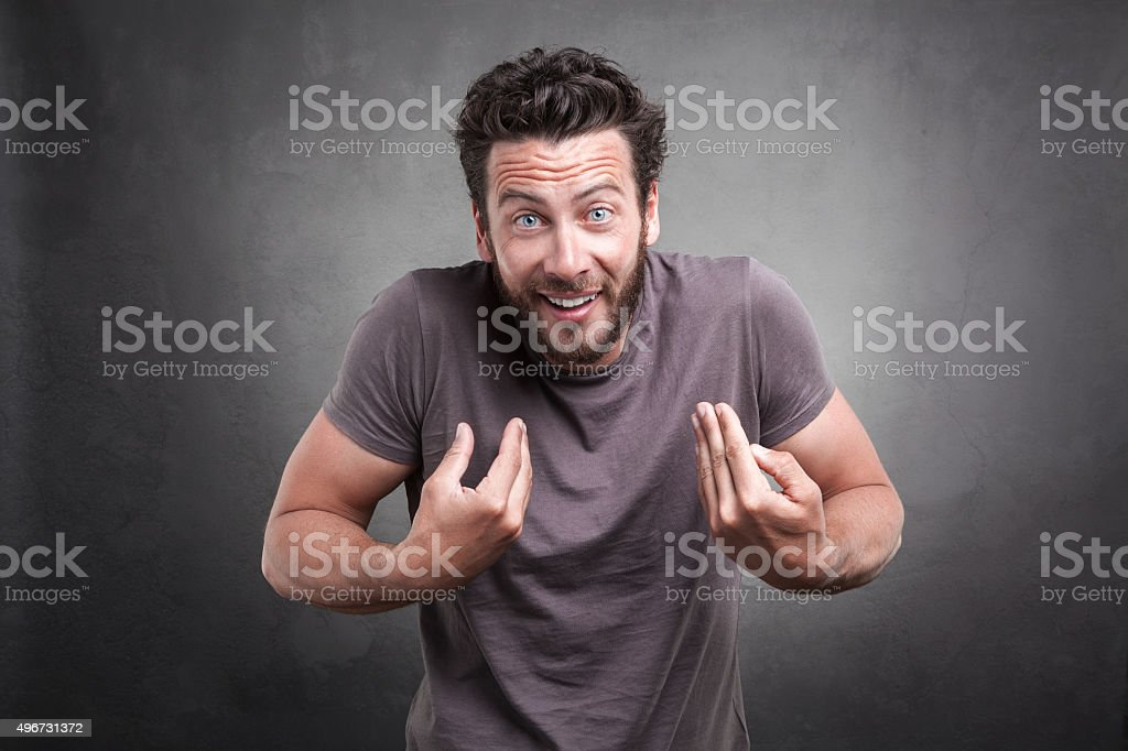 Surprised adult asking you mean me? stock photo