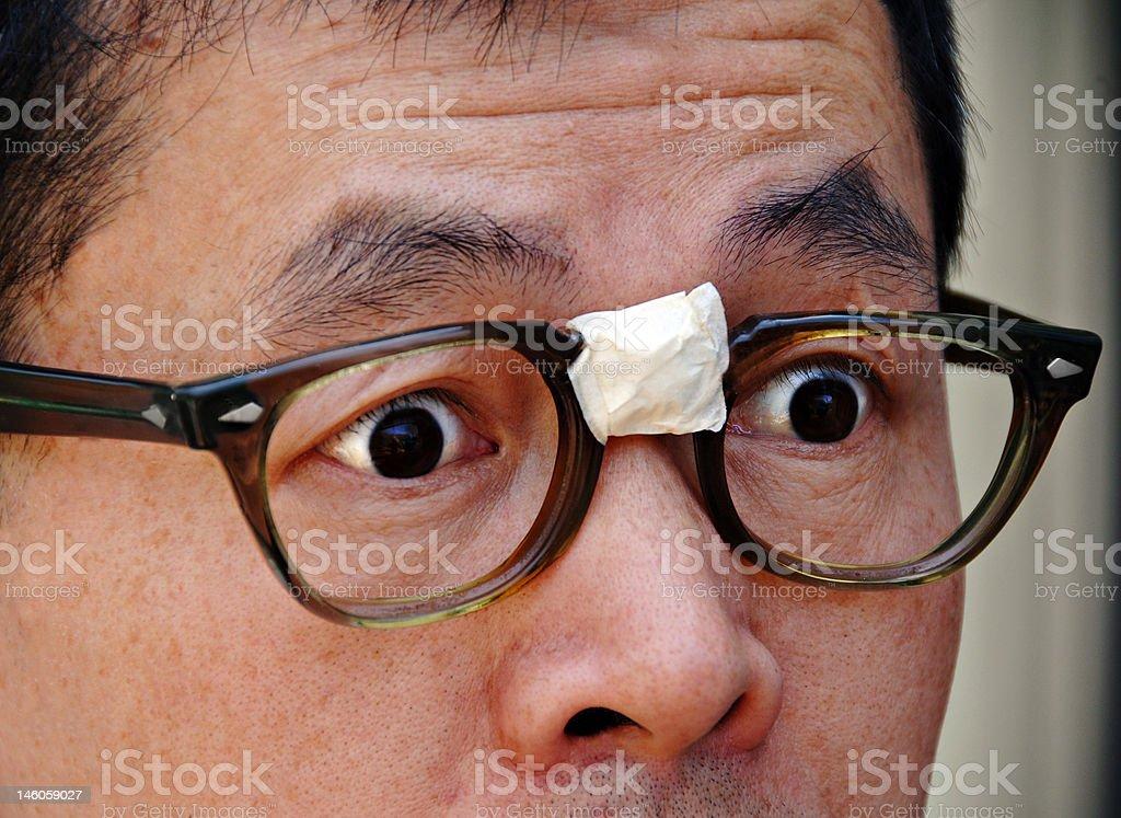 Surprised Asian Nerd in Glasses stock photo