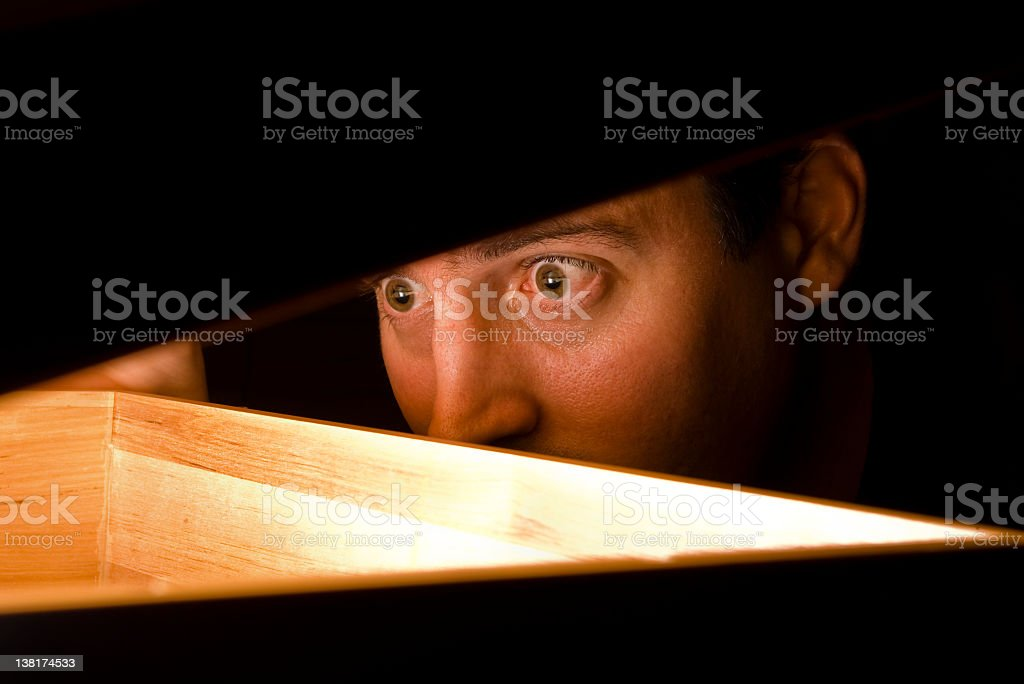 Surprised at a discovery stock photo