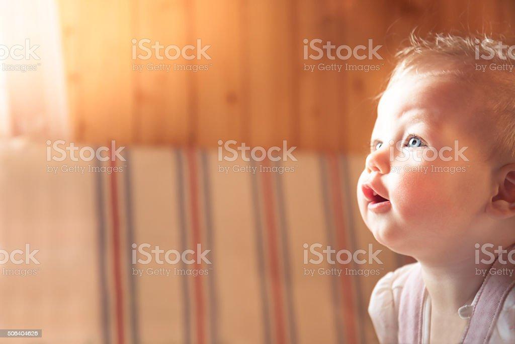Surprised baby stock photo