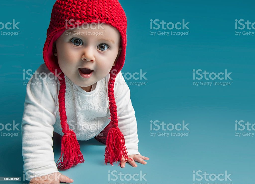 Surprised baby stock photo
