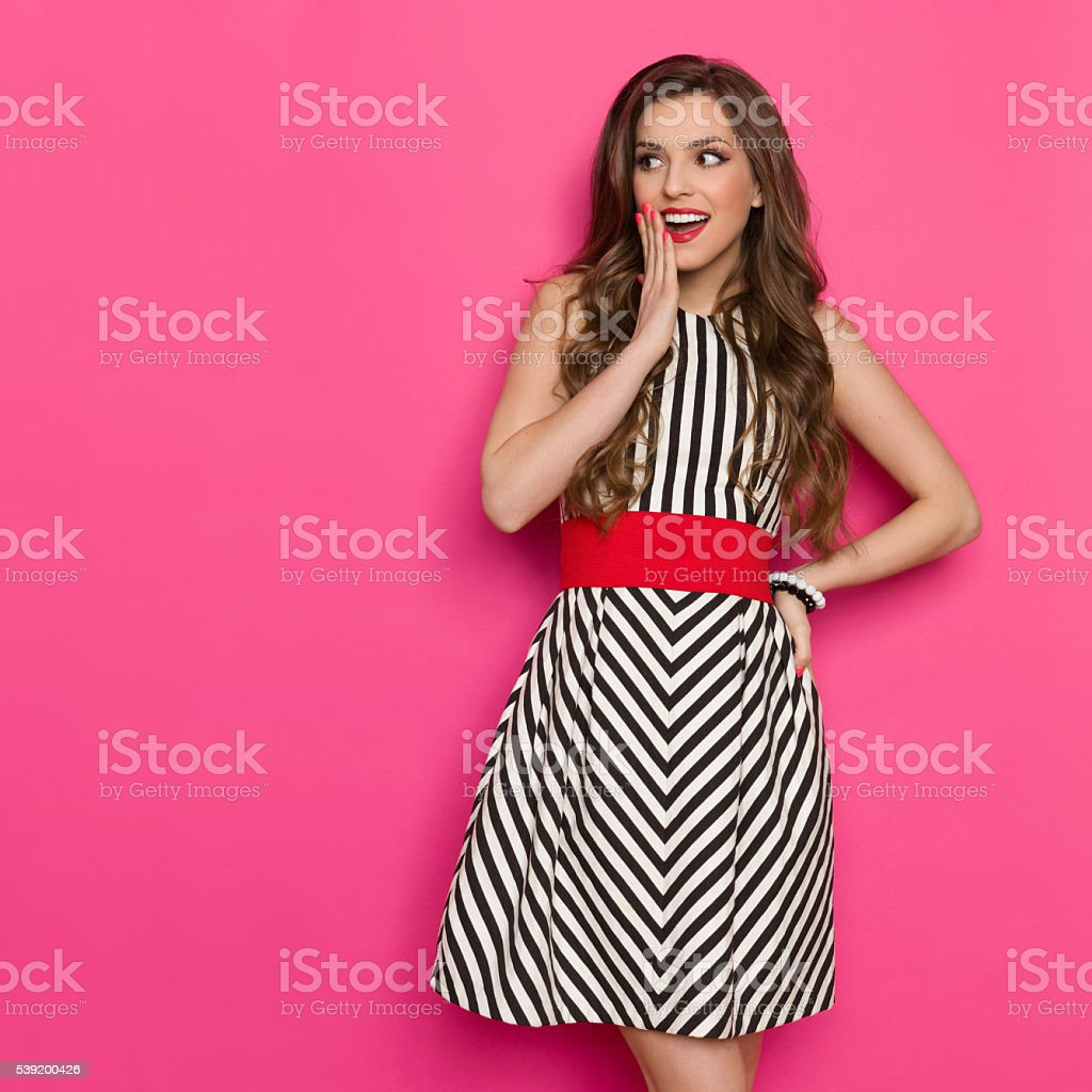 Surprised Beautiful Woman Looking Away stock photo