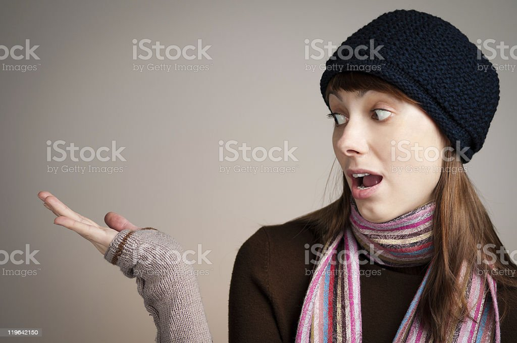 surprised beautiful young woman stock photo