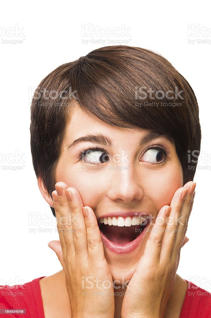 Surprised beautiful young woman royalty-free stock photo
