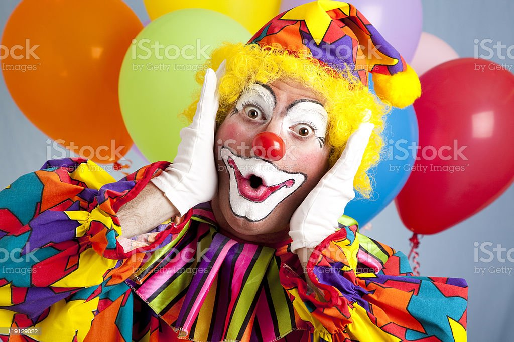 Surprised Birthday Clown stock photo