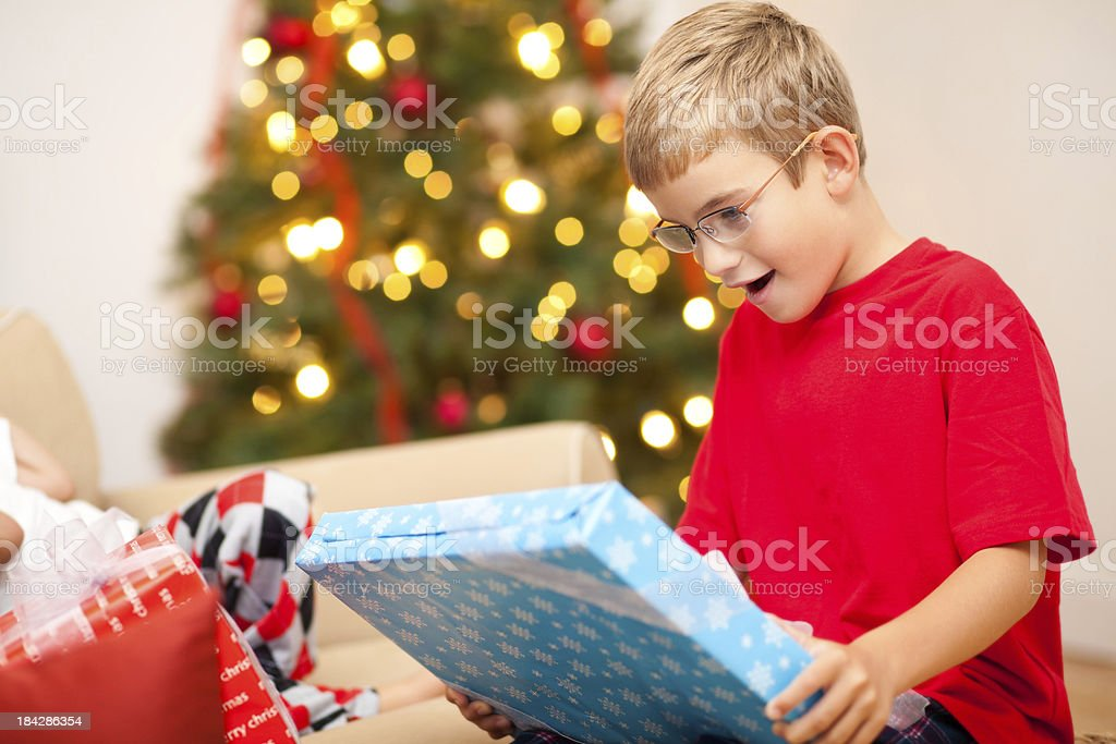 Surprised Boy Holding His Christmas Present royalty-free stock photo