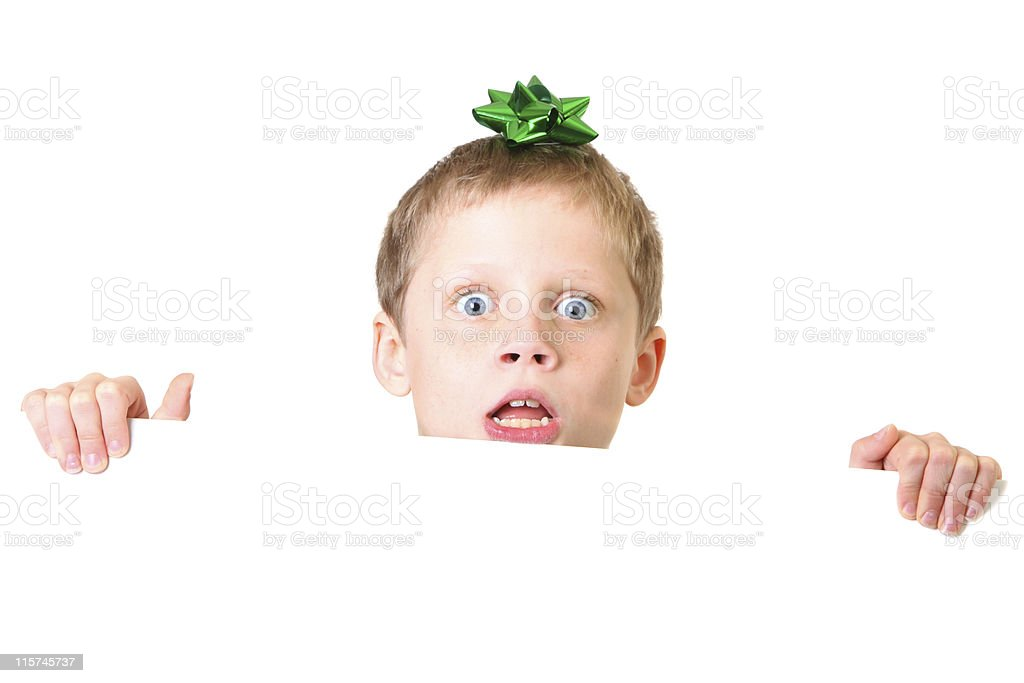 surprised boy with sign royalty-free stock photo