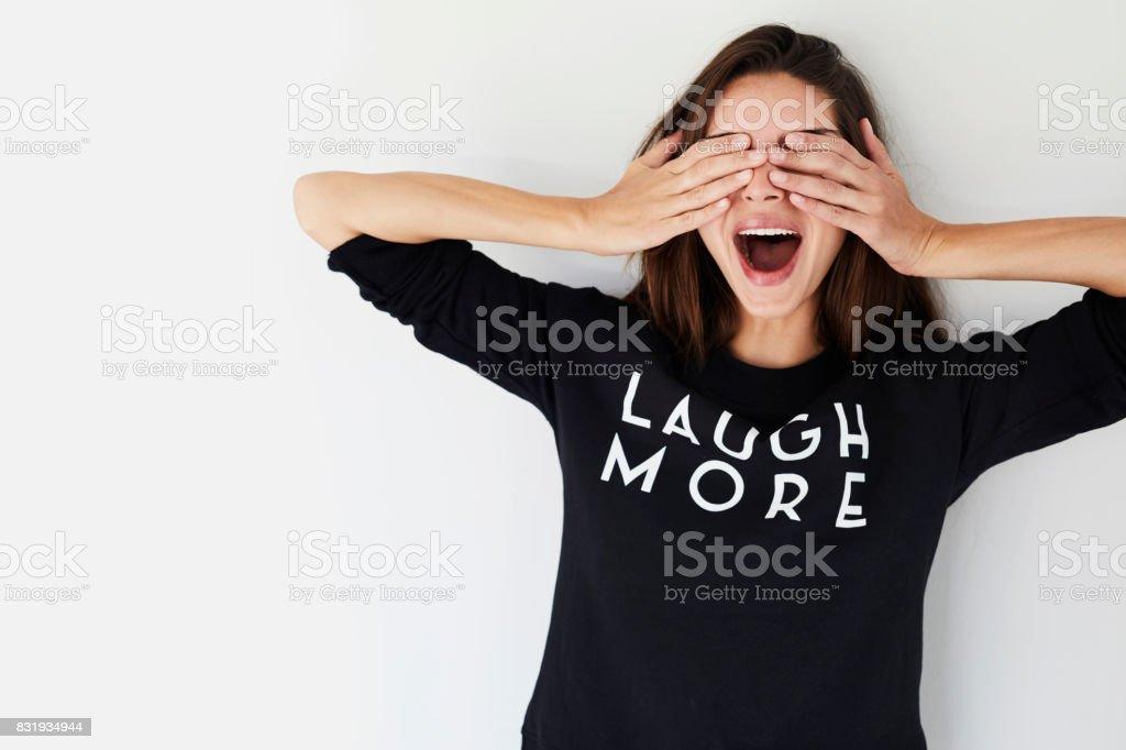 Surprised brunette stock photo