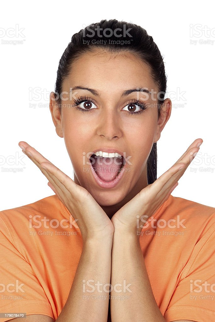 Surprised brunette woman royalty-free stock photo