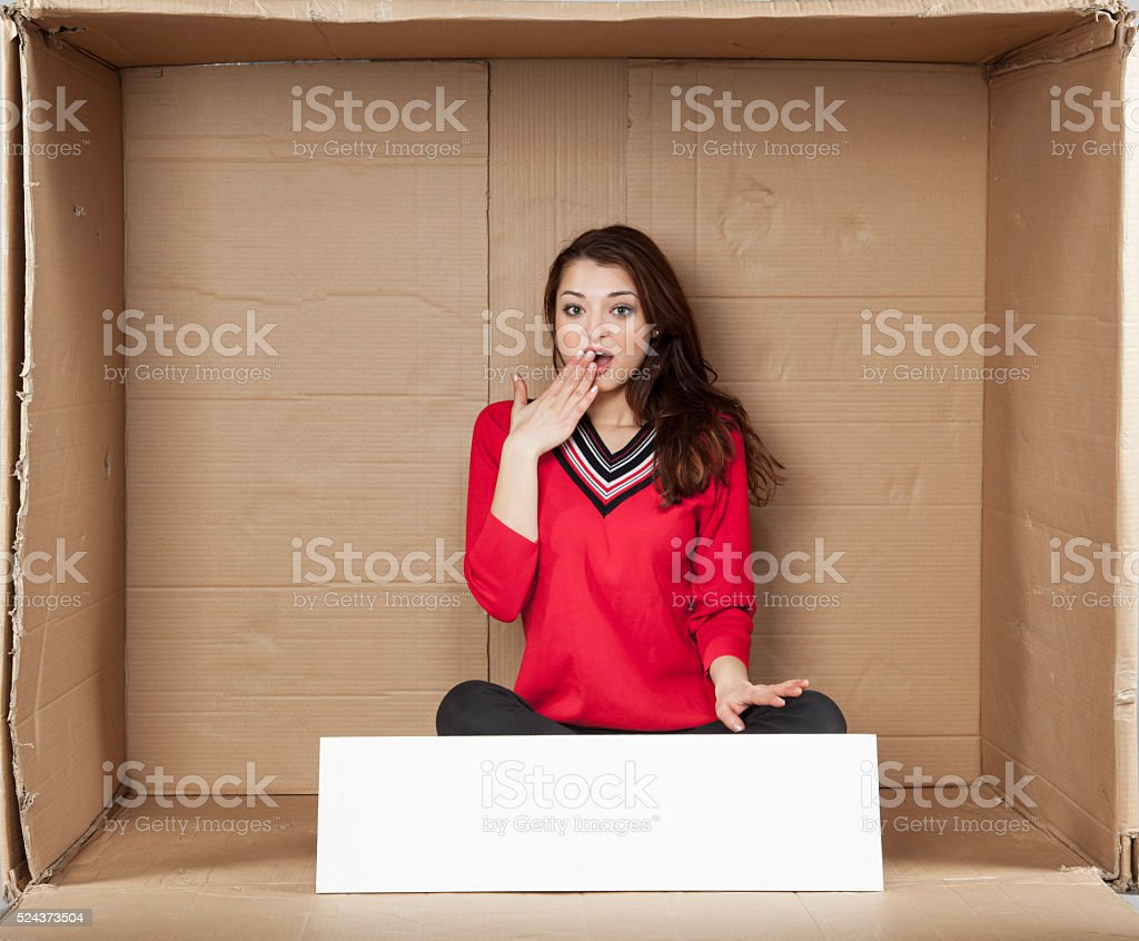 surprised business woman, funny gesture stock photo