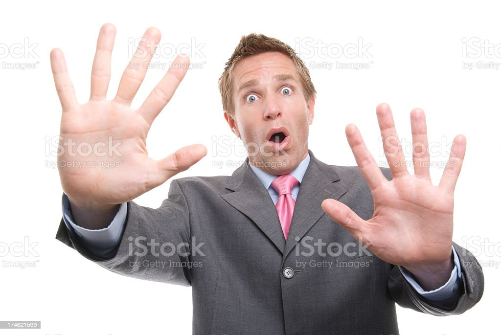 Surprised Businessman Both Hands Up Whoa! White Background stock photo