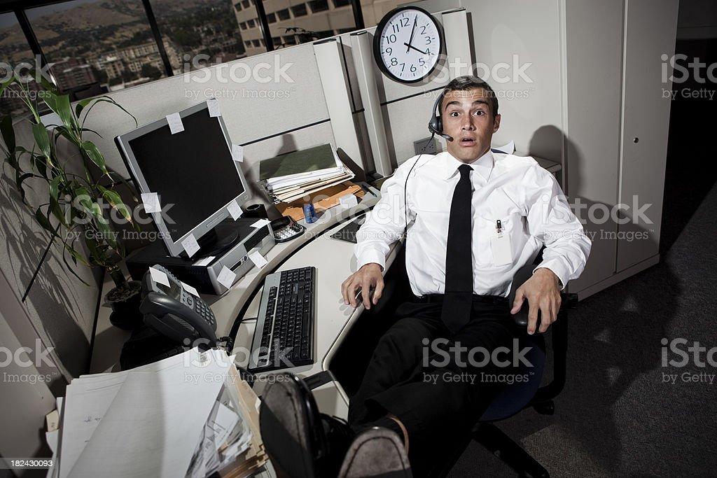 Surprised Businessman caught sleeping royalty-free stock photo