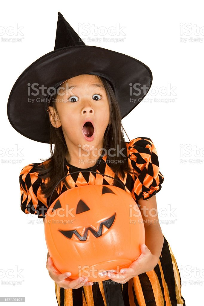 Surprised by trick or treat candy royalty-free stock photo