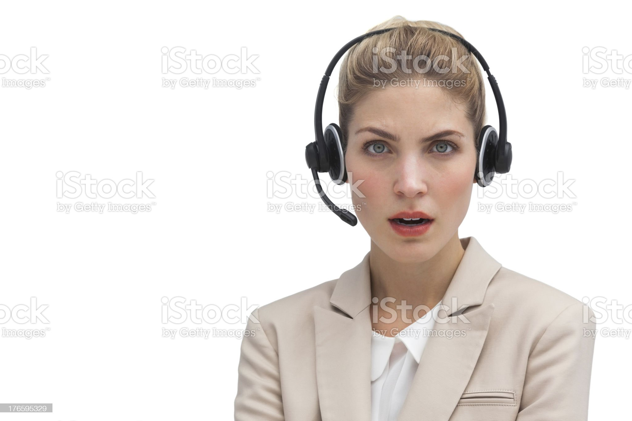 Surprised call center agent royalty-free stock photo