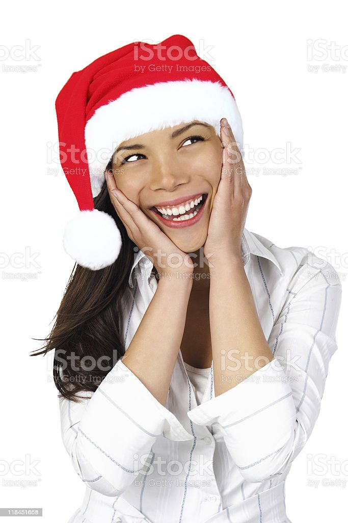 Surprised Christmas Woman royalty-free stock photo