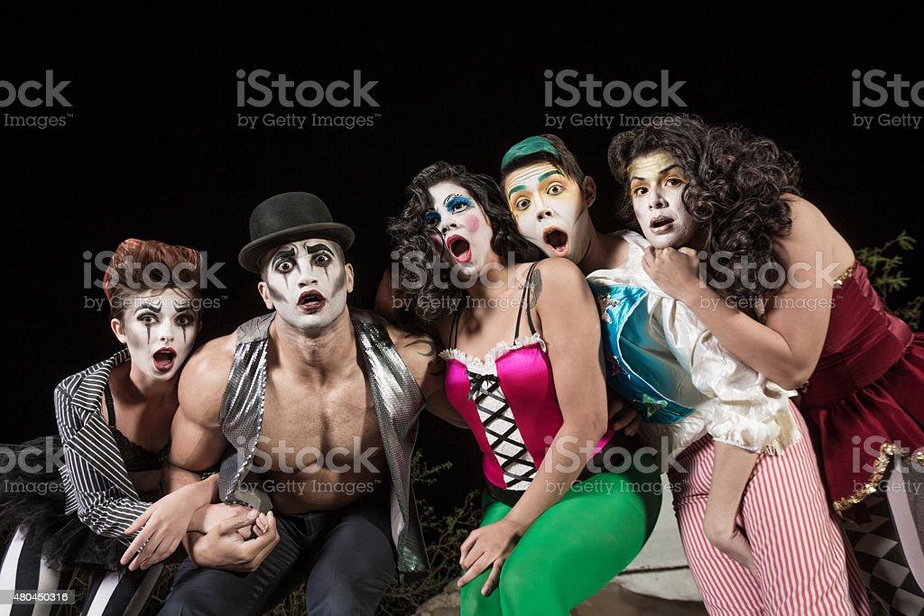 Surprised Comedy Ensemble stock photo
