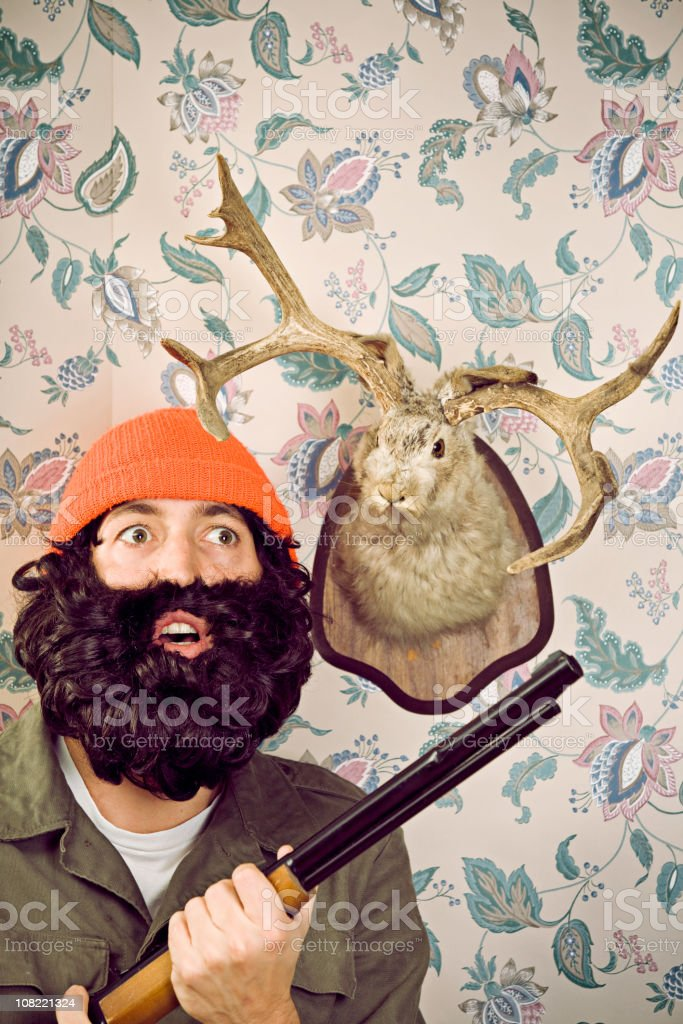 Surprised Crazy Hunter & Jackalope royalty-free stock photo