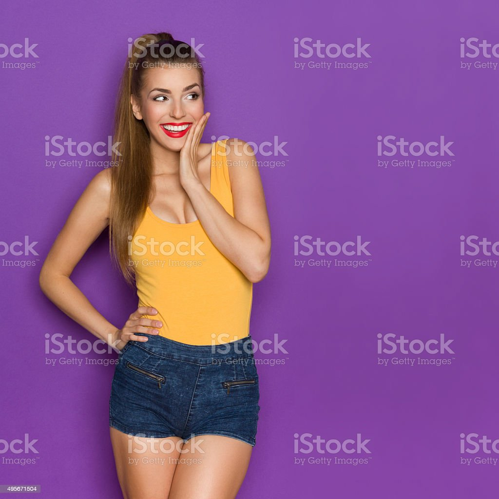 Surprised Cute Girl Looking At Copy Space stock photo