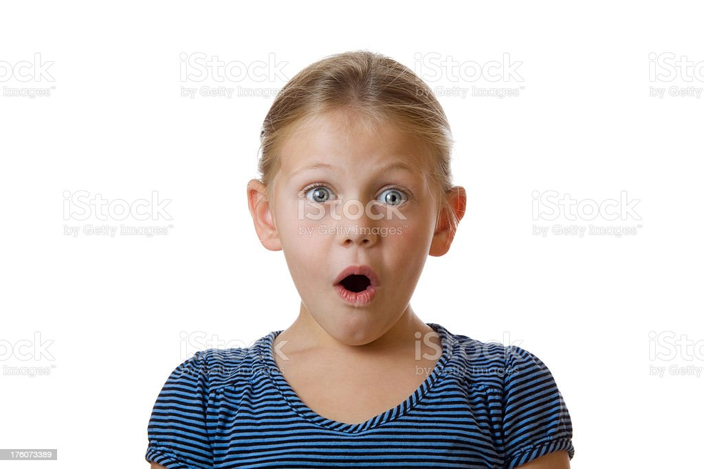 Surprised cute little blond girl on white stock photo