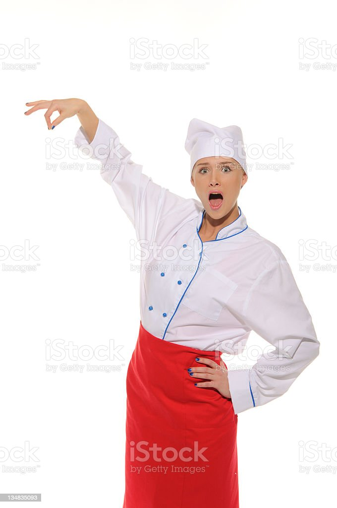 surprised female chef picks up royalty-free stock photo