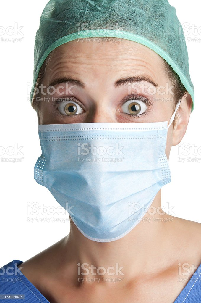 Surprised Female Surgeon with face mask royalty-free stock photo