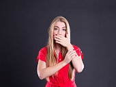 surprised frightened woman closed mouth