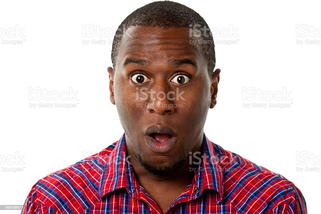 Surprised Gasping Man stock photo